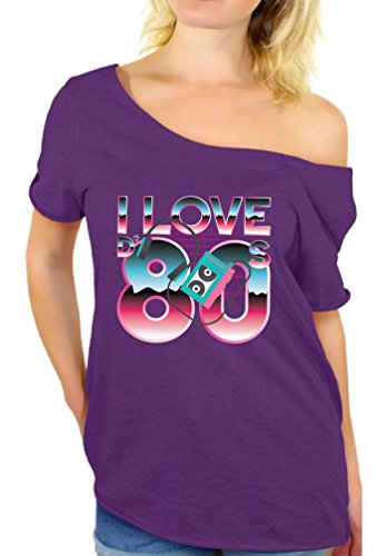 (Awkward Styles I Love The 80's Off The Shoulder Tops Women's Disco Vintage Shirt Purple)