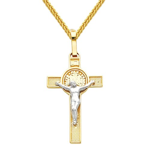 Wellingsale 14k Two 2 Tone Gold Polished Jesus Cross Religious Charm Pendant with 1mm Braided Square Wheat Chain Necklace - 18