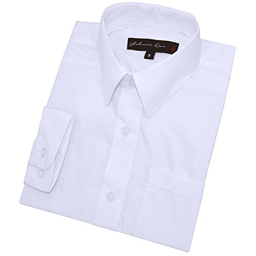 Big Boy's Long Sleeves Solid Dress Shirt #JL32 (8, White) -