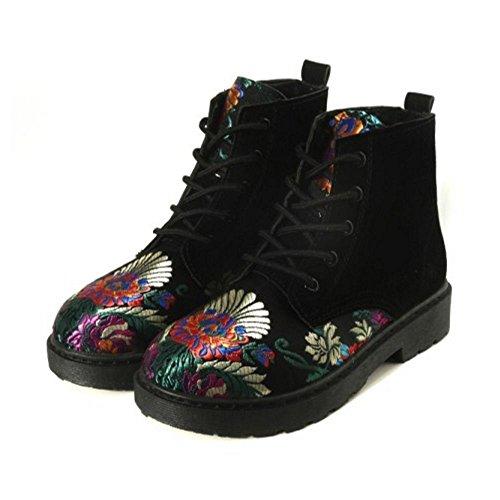 Moda Black Stringate Donna Inverno Stivali TAOFFEN qwxFUU
