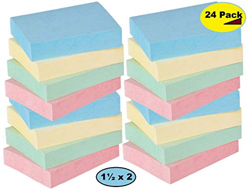 1InTheOffice Assorted Pastel Color Small Sticky Notes 1.5 x 2 100 Sheets - 24/Pack