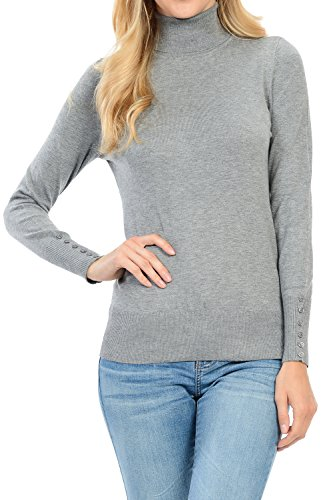 YourStyle Long Sleeve Turtle Neck/V-Neck/Crew Neck Sweater S-XL (Small, 63-H.Gray)
