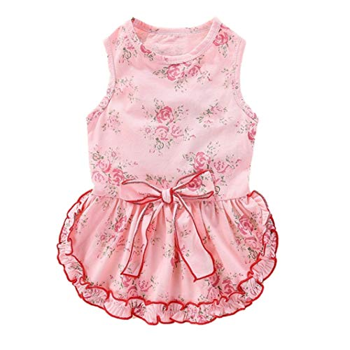 YOTATO Pet Summer Sleeveless Vest Dog Dress Girls Decorative Small Floral Skirt with Bowknot Cute Ruffled Skirt Coat