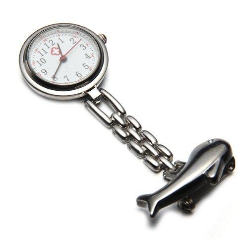 Reloj para enfermera broche movimiento cuarzo portátil delfin color plata: Amazon.es: Relojes