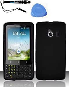 3-in-1 Bundle: For Huawei Ascend Q M660 (Cricket) Silicon Skin Case Phone - Black SC + IMAGITOUCH(TM) Touch Screen Stylus Pen and Pry Tool