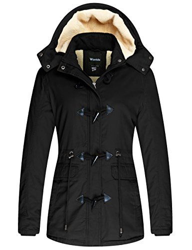 Wantdo Women's Winter Thicken Jacket Cotton Coat with Removable Hood Black, 2XL