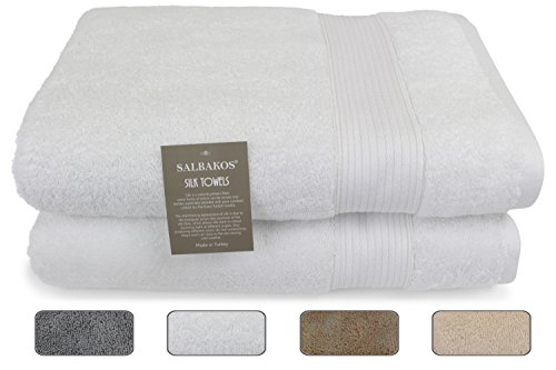 SALBAKOS Italian Silk and Combed Turkish Cotton 2-Piece Soft Eco-Friendly Bath Towel Set 30 x 60 Inch, White by SALBAKOS