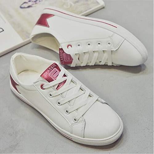Cerrado Heel Zapatos Negro Flat Red Rojo Sneakers Comfort de Microfibra Verano ZHZNVX de Primavera Mujer de de Blanca Punta p7ax7qP