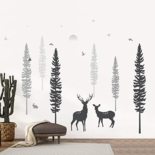 Timber Artbox Nursery Wall Decal – Dreamy Forest with Pine Tree, Animals & Deer – DIY Impressive Children Room