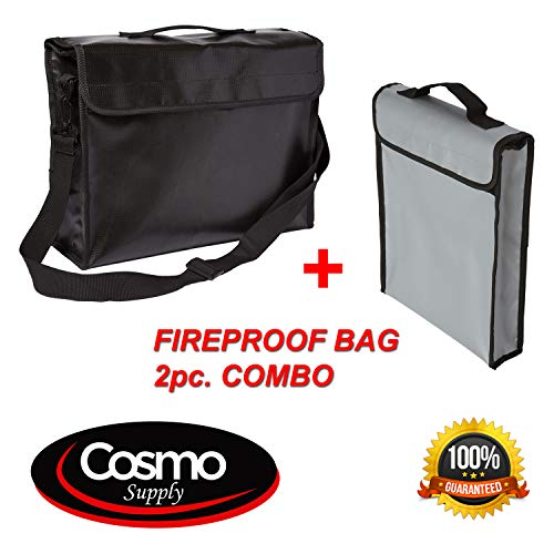 (2 Piece Fireproof Bag Set - Safe - Fireproof - Silicone - Waterproof - Fireproof Passport Holder - Money Bag - Jewelry Organizer - Money - Coins - Photo Album - Document Holder - Fireproof Safe)