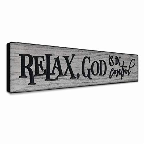 Inspirational Christian Art - LACOFFIO Inspirational Quotes Wall Art - Relax, God is in Control Rustic Christian Faith Wall Decor for Kitchen - Grey Scripture Wooden Signs