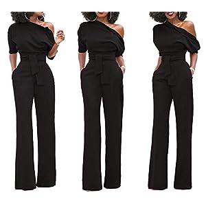 Women's Wide Leg Slanted One Shoulder Belted Jumpsuits(Black-Medium)