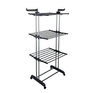 TOP-MAX Laundry Drying Rack Mount Baby Clothes Drying Rack 3 Tier Rolling Garment Rack Folding Clothes Airer Indoor Outdoor Hanging Rod Dryer Gray