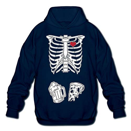 OPQRSTQ-O Skeleton Maternity Pizza & Beer Mens Funny Hooded Sweatshirt Sweater ()