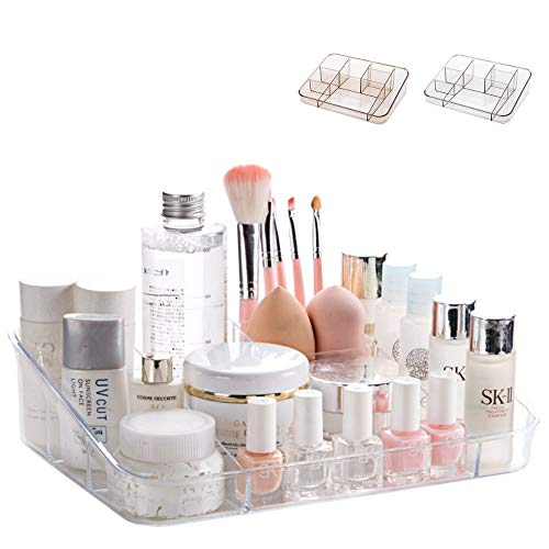 SUNFICON Makeup Organizer Tray Cosmetic Display Case Office Stationery Storage Holder Makeup Box Units for Bathroom Drawers, Vanities, Countertops, Office Desk, Washable Crystal Clear Acrylic