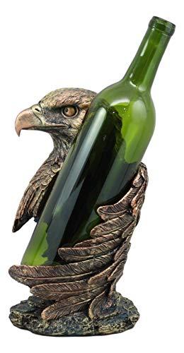 - Ebros Large Patriotic Bald Eagle Wine Bottle Holder Figurine in Faux Bronze Finish 10