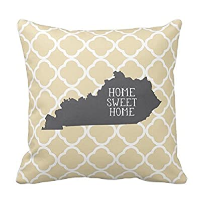 Jimmy P Home Sweet Home Kentucky Personalized Square Cotton Polyester Throw Pillow Case Decor Cushion Covers 18x18 Inches