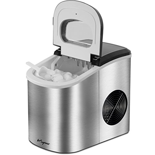 Keyton Portable Ice Maker with Basket, Stainless Steel, 26 Pounds (2 Sizes) (Ice Maker Replacement Tray)