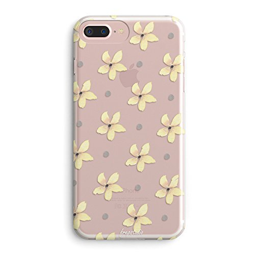 - iPhone 7 Plus Case,iPhone 8 Plus Case,Flowers Summer Tender Retro Adorable Yellow Daisy Cute Floral Kyoto Spring Tropical Vintage Roses Cute Pink Clear Soft Case for iPhone 7 Plus/iPhone 8 Plus