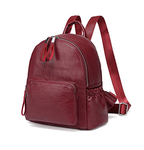 Mini Backpack Purse,Vaschy Faux Leather Small Backpack for Women (Burgundy)