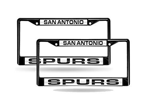 Rico San Antonio Spurs NBA Black Metal (2) Laser License Plate Frame Set by Rico