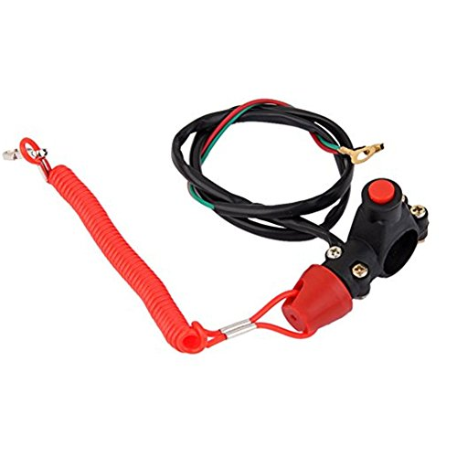 Ocamo Engine Motor Kill Stop Switch Button + Safe Lanyard for ATV Racing Emergency (Waterproof Button Kill)