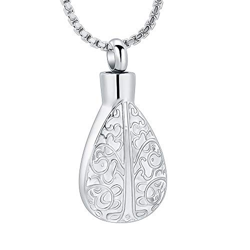 - mingkejw Teardrop Cremation Jewelry for Ashes Tree of Life Memorial Lockets Urn Pendant Ashes Necklace Stainless Steel Keepsake Jewelry (Silver)