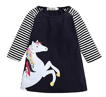 TO_GOO Vestido de Manga Larga de algodón para niñas Vestido de ...