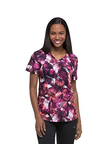 Dickies Fashion Prints by Women's V-Neck Going Digital Print Scrub Top Small