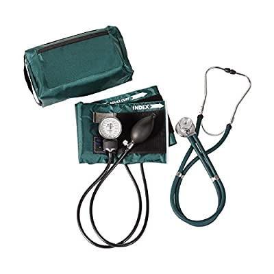 MABIS MatchMates Aneroid Sphygmomanometer and Sprague Rappaport Stethoscope Combination Manual Blood Pressure Kit with Calibrated Nylon Cuff, Professional Quality, Carrying Case, Hunter Green