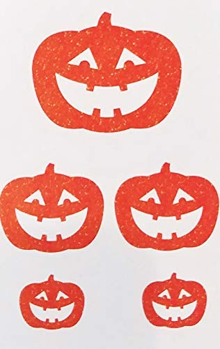 A&T Designs Pack of Orange Glitter Pumpkins - Assorted Sizes Cardboard Cutout Decorations for Halloween Party
