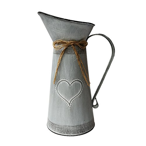 - SHDAO French Country Rustic Primitive Jug Vase Pitcher Vase Galvanized Milk Can With Heart-Shaped for Home Office Cafe Decor -10.5 inch