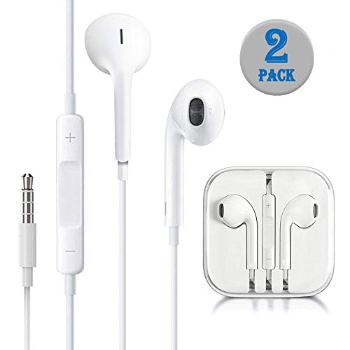 Earbuds Headphones 3.5mm Wired White Earphones Noise Isolating Headsets with Built in Microphone and Volume Control. (2 Pack)