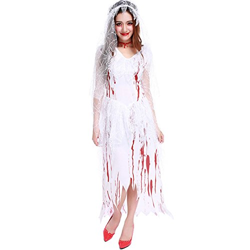 Women's Halloween Costume Scary Dead Ghost Bride Costumes With Blood On Dress For Teen Girls (Free Size, (Kids Dead Bride Costume)