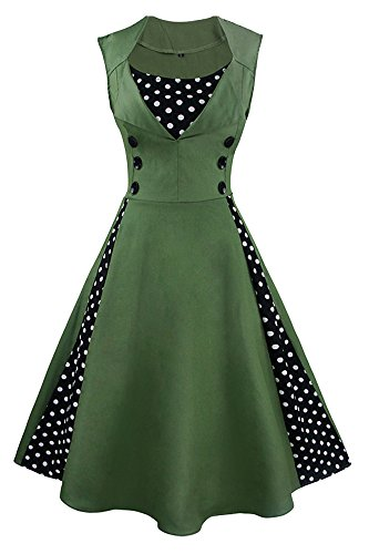 Killreal Women's Vintage Style Rockabilly Polka Dot Print Casual Cocktail Dress Dark Green Large