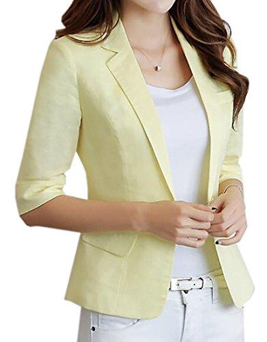 Nanquan-women clothes NQ Women 3/4 Sleeve Blazer Linen Cotton 1 Button Jacket Work Blazer one US L