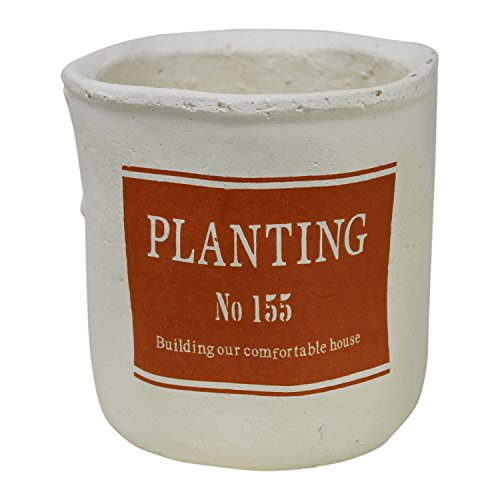 Rustic Round Pot Hand Thrown with Planting Label (Orange)