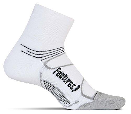 Feetures! Men's Elite Light Cushion Quarter, White + Black,