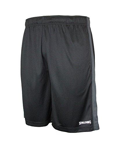 Spalding Mens Active Interlock Basketball Gym Athletic Workout Shorts with Contrast Side Panel Black/Asphalt, M