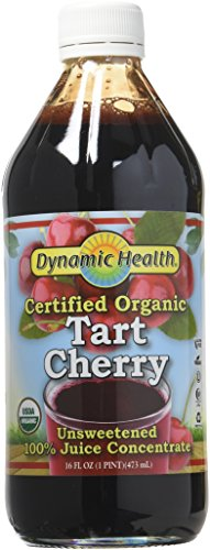 Dynamic Health 100% Pure Organic Certified Tart Cherry Juice Concentrate, 16-Ounce (Packaging May Vary) - Organic Black Cherry