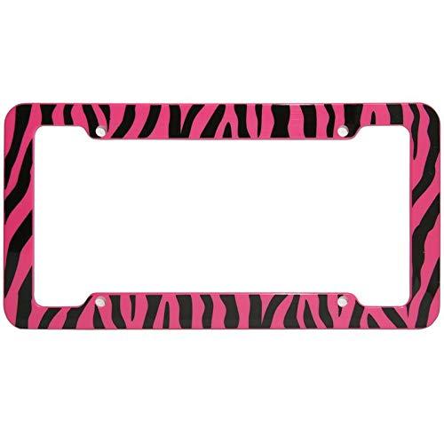 Motorup America Auto License Plate Frame Cover 2-Pack - Fits Select Vehicles Car Truck Van SUV - Wild Pink Zebra Print ()
