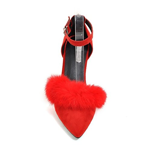 Comfortable Mouth Shallow Fluffy Red Fashion Shoes GRRONG t6Z4qn