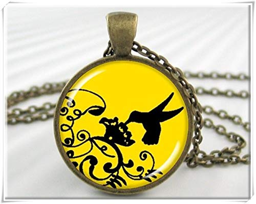 Yellow Hummingbird Pendant,Black Yellow Accessory,Exquisite Jewelry, Dome Glass Jewelry, Handmade.