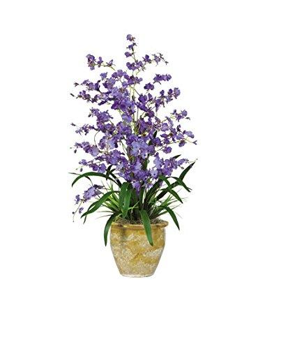 (Nearly Natural 1070-PP Triple Dancing Lady Silk Flower Arrangement, Purple)