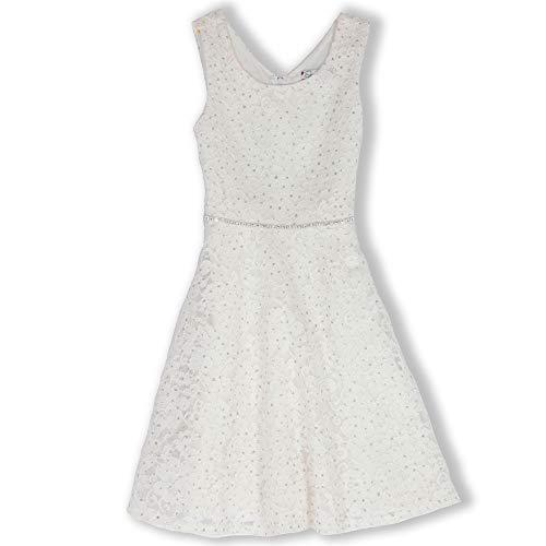 Speechless Girls' Big Sparkle Lace Skater Dress with Jewel Waist, Ivory 12 -