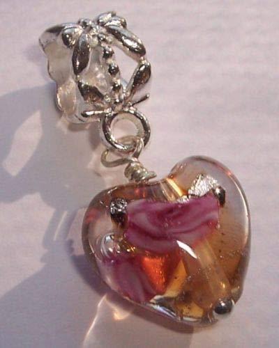 Murano Rose Pendant - Charm - Jewelry - Pendant - Pink Gold Murano Glass Heart Rose Flower for Bracelet