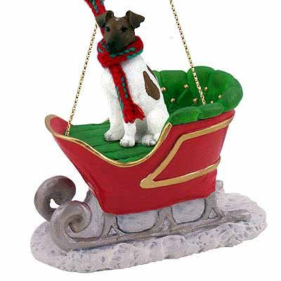 Smooth Fox Terrier Sleigh Ride Christmas Ornament Brown-White - DELIGHTFUL! ()