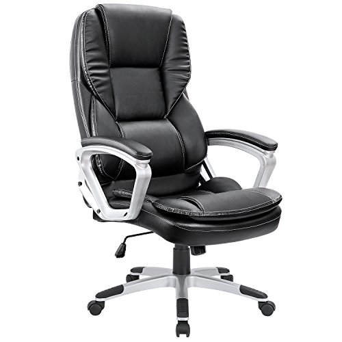 Homall High-Back Office Chair PU Leather Computer Desk Chair, Ergonomic Boss Executive Management Swivel Task Chair with Modern Lumbar Support and Padded Armrests (Black)