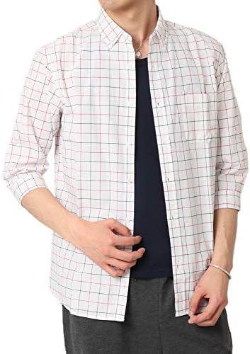 メンズ カジュアルシャツ 7分袖 シャツ ボタンダウンシャツ ストライプ ギンガムチェック 柄シャツ