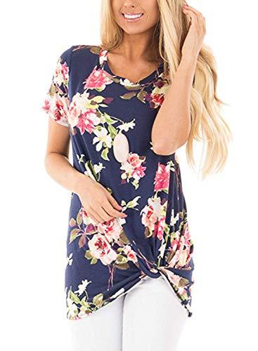 Unidear Women Summer Casual Short Sleeve Floral Top Knot Front T-Shirt #4Navy XXL